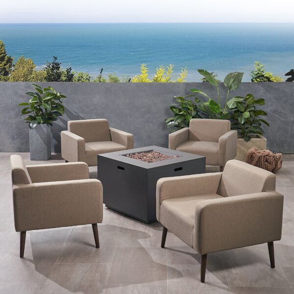 Breckenridge Outdoor 5 Piece Multiple Chairs Seating Group with Cushions by Brayden Studio Brayden Studio