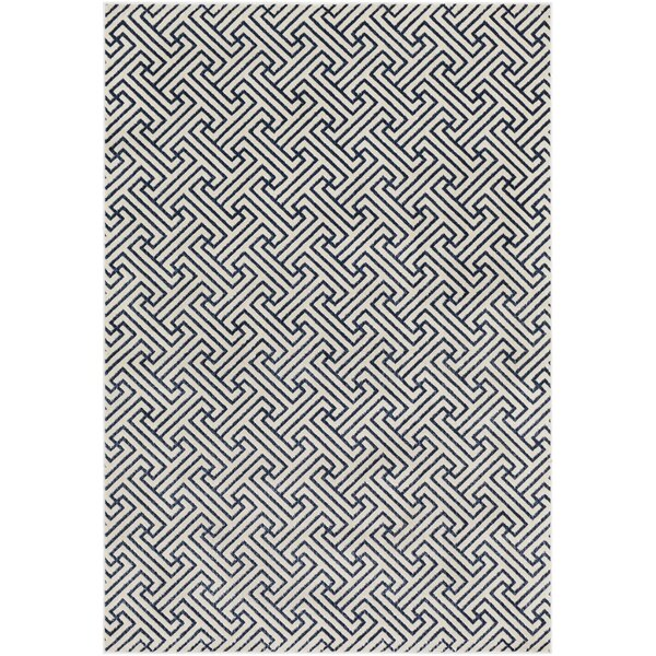 Hyacinth Modern Geometric Navy/Ivory Area Rug by Wrought Studio