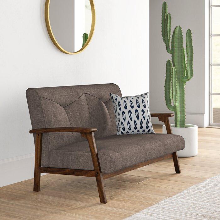 Tremendous Alijah Mid Century Vintage Modular Loveseat Theyellowbook Wood Chair Design Ideas Theyellowbookinfo