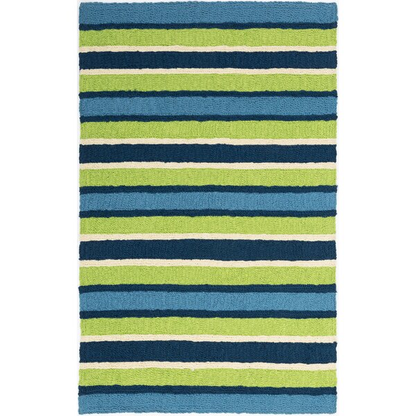 Carvell South Bay Hand-Hooked Lime Green/Blue Indoor/Outdoor Area Rug by Highland Dunes