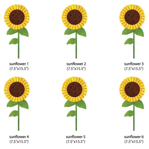 Sunflowers Wall Decal (Set of 6) by My Wonderful Walls