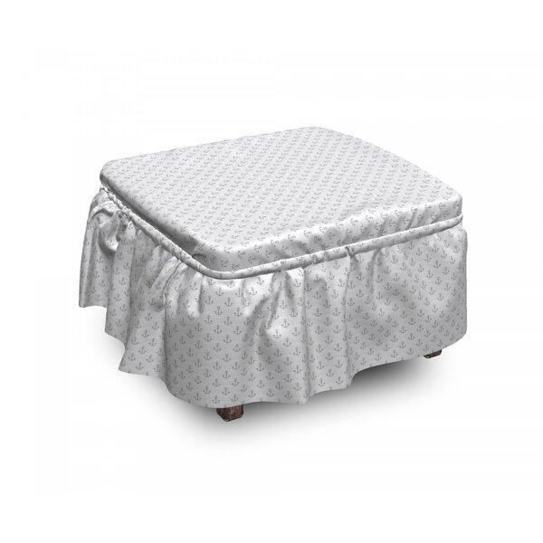 Anchor Wave 2 Piece Box Cushion Ottoman Slipcover Set By East Urban Home
