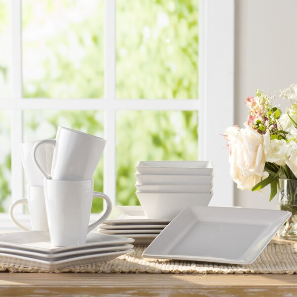 Wayfair Basics 16 Piece Stoneware Square Dinnerwar