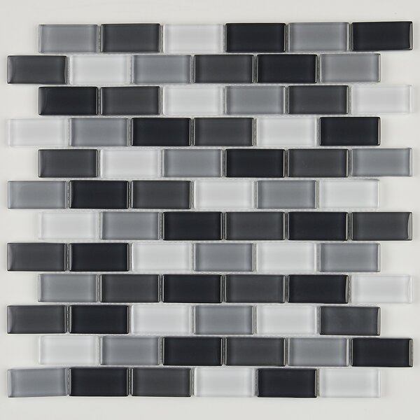 Geneva Brick Joint 12 x 13 Glass Mosaic Tile in Classic Evening Mixes by Itona Tile