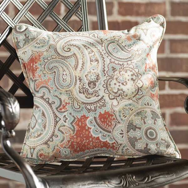 Lebaron Coral Paisley Indoor/Outdoor Square Pillows (Set of 2) by Three Posts