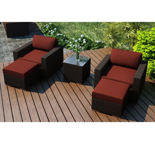 Hodge 5 Piece Teak Seating Group with Sunbrella Cushions by Rosecliff Heights