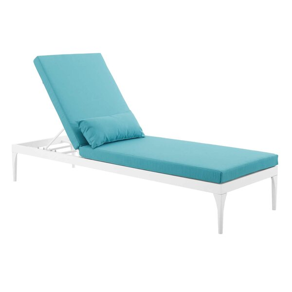 Wilma Outdoor Reclining Chaise Lounge with Cushion by Ivy Bronx