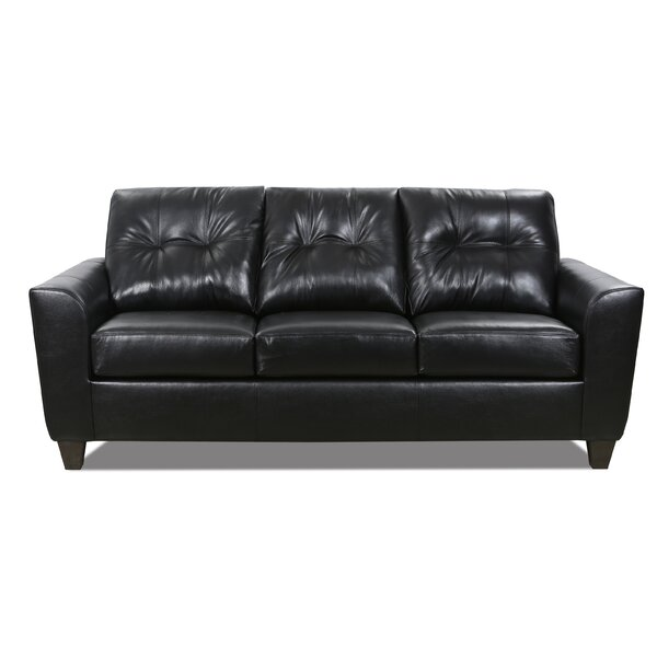 Magallon Leather Sofa Bed by Wrought Studio