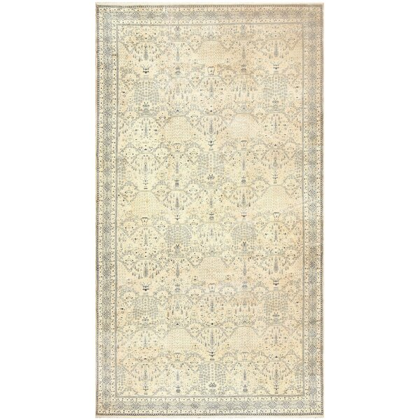 One-of-a-Kind Agra Hand-Knotted Cream 16' x 29'6 Wool Area Rug