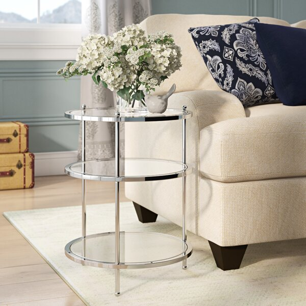 Cathleen Glass Top 3 Legs End Table With Storage By Willa Arlo Interiors