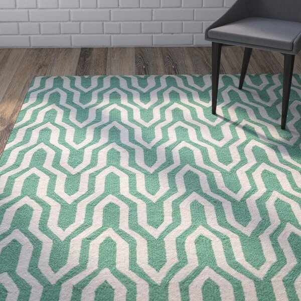 Trent Hand-Hooked Green Area Rug by Wrought Studio