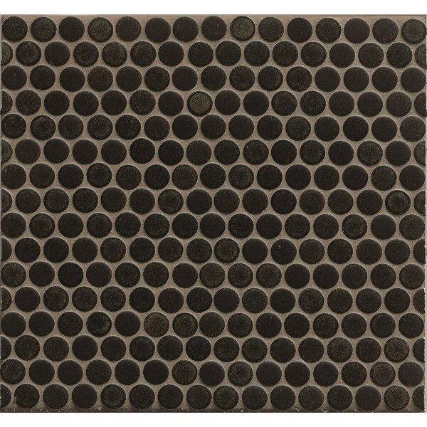 Penny Round Mosaic 12 x 12 Porcelain Tile in Black by Grayson Martin