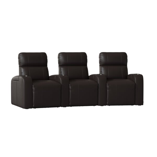 Home Theater Row Curved Seating With Chaise Footrest (Row Of 3) By Latitude Run