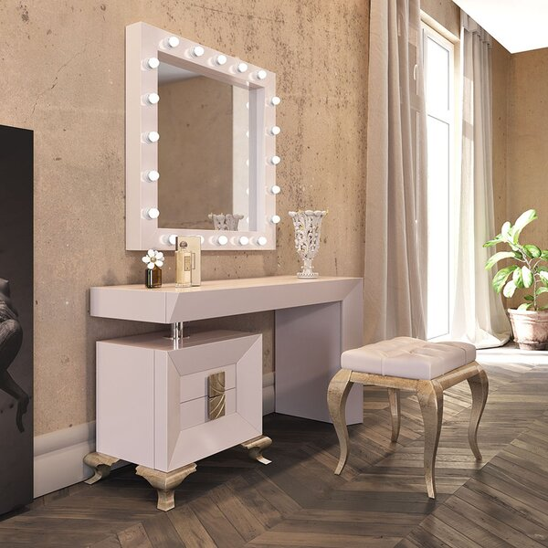 Louviere Vanity Set with Stool and Mirror