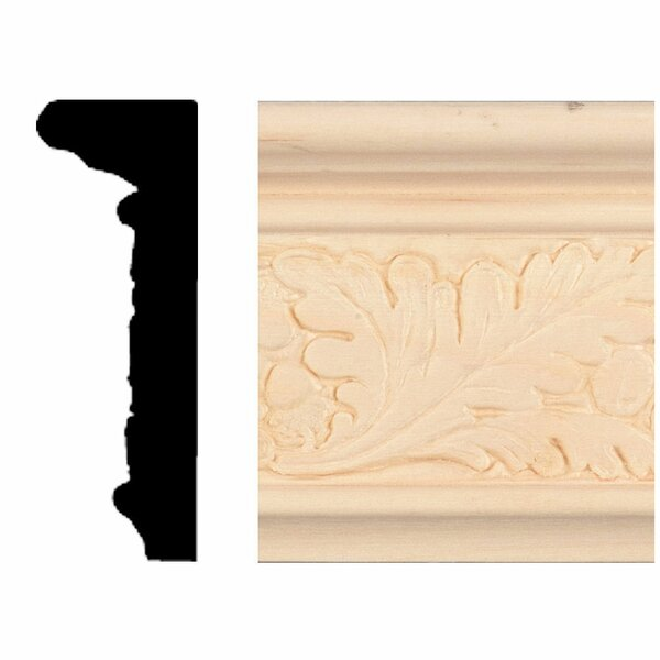 7/8 in. x 2-1/2 in. x 8 ft. Hardwood Emboss Oak Leaf Chair Rail Moulding by Manor House