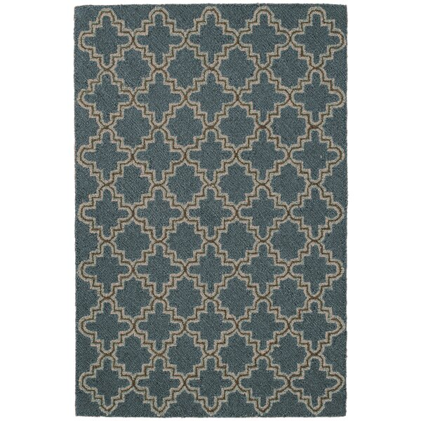 Plain Tin Hooked Blue/Brown Area Rug by Dash and Albert Rugs