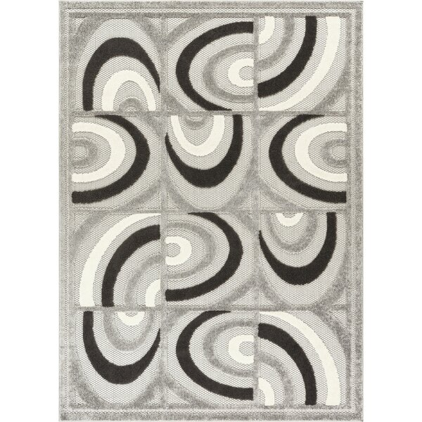 Dorado Lucente Modern Abstract Shapes High-Low Gray Indoor/Outdoor Area Rug by Well Woven
