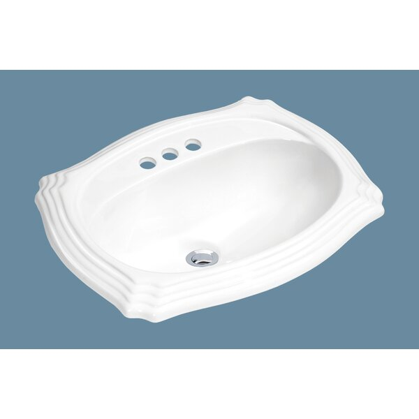 Top Mount Vitreous China Oval Drop-In Bathroom Sink with Overflow by Soleil