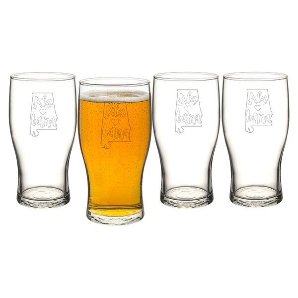 My State 19 oz. Beer Pilsner Glass (Set of 4) by Cathys Concepts