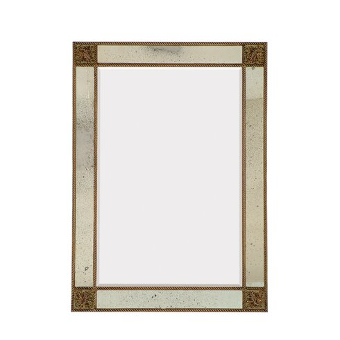 Majestic Mirror Detailed Rectangular Antique Beveled Glass Wall