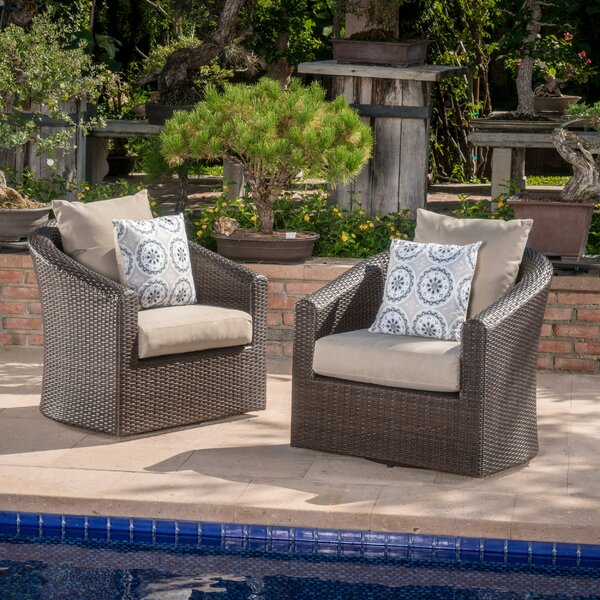 Dierdre Outdoor Wicker Swivel Club Patio Chair with Cushions (Set of 2) by Red Barrel Studio