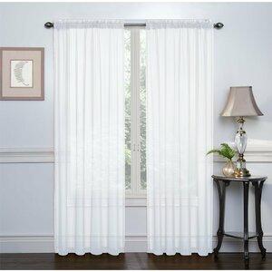 Emmons Sheer Voile Solid Sheer Rod Pocket Curtain Panels (Set of 2)
