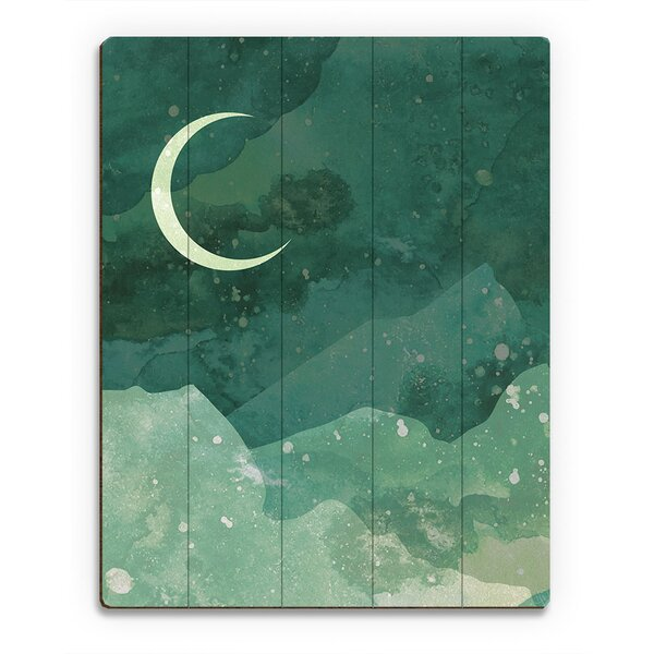 Pale Viridian Crescent Graphic Art on  Wood by Click Wall Art