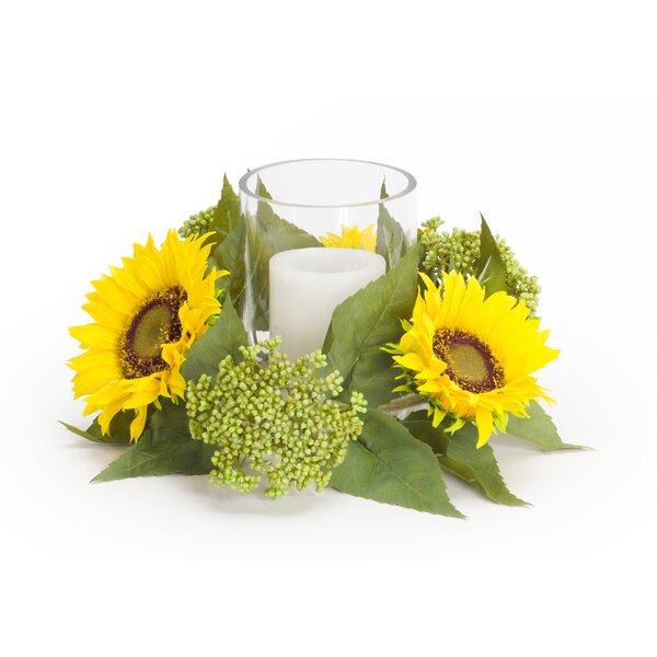 Sunflower and Seedum Candleholder Floral Candelabrum by August Grove