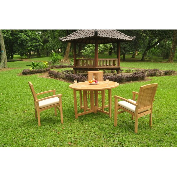 Immanuel 4 Piece Teak Dining Set by Rosecliff Heights