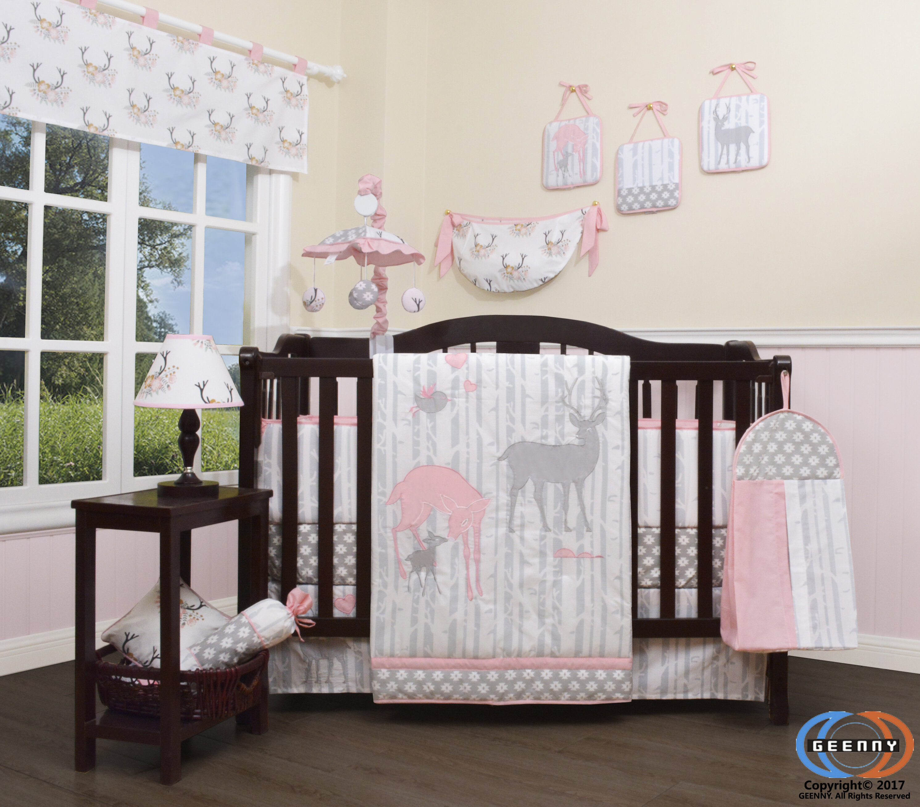 Harriet Bee Three Lakes Baby Girl Deer Family Nursery 13 Piece Crib Bedding Set Reviews Wayfair