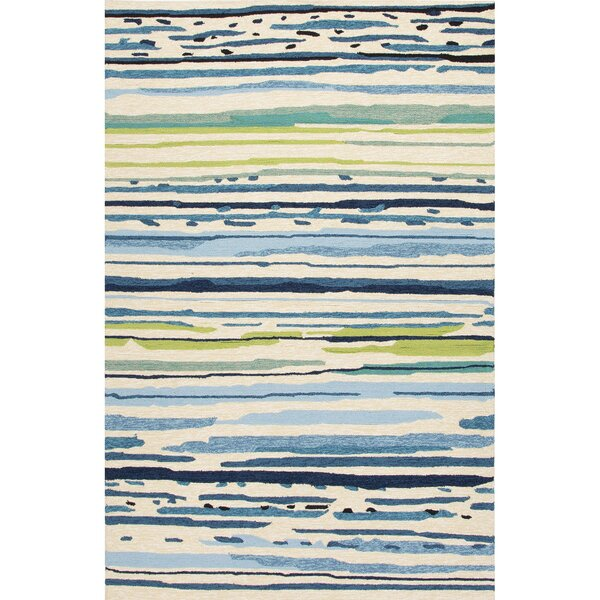 Angelina Hand-Hooked Polypropylene Blue/Green Outdoor Area Rug by Latitude Run