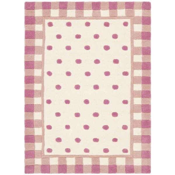 Novelty Hand-Woven Wool Ivory/Pink Area Rug by Saf