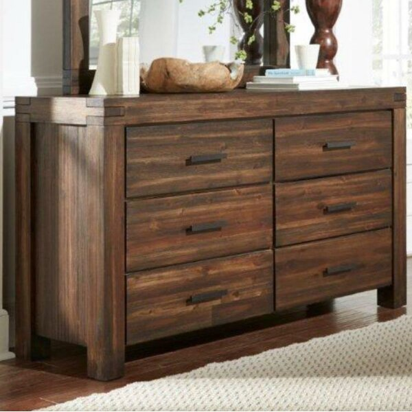 Reppert Rustic 6 Drawer Double Dresser with Mirror by Loon Peak