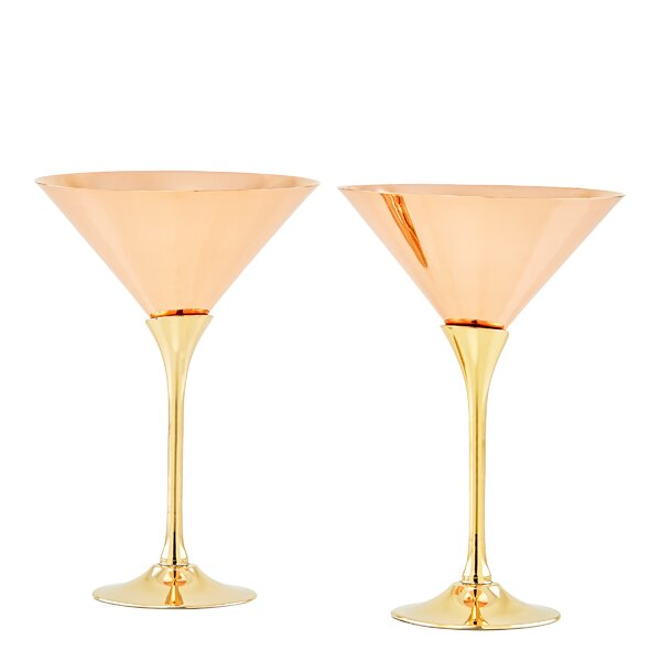 Solid Copper Brass Stem 6 oz. Martini Glass (Set of 2) by Old Dutch International