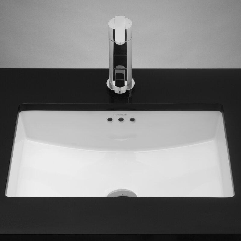Essence Rectangular Undermount Bathroom Sink With Overflow
