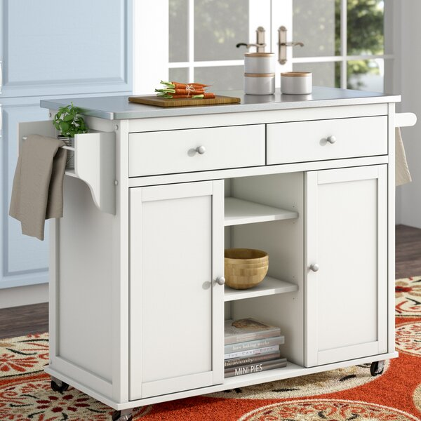 Brecht Kitchen Cart with Stainless Steel Top by Alcott Hill
