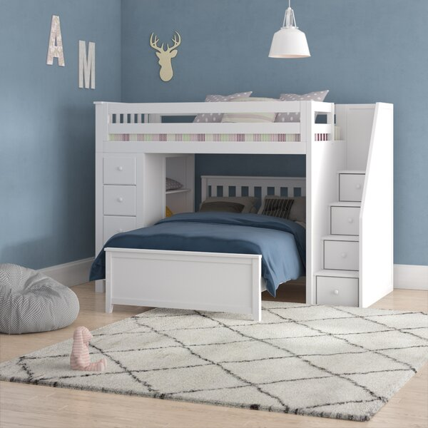 Ayres L-Shaped Loft Bed with Drawers and Bookcase by Harriet Bee