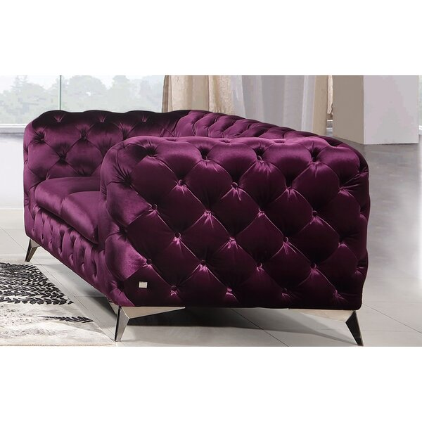 Nice And Beautiful Vennie Chesterfield Loveseat by Everly Quinn by Everly Quinn