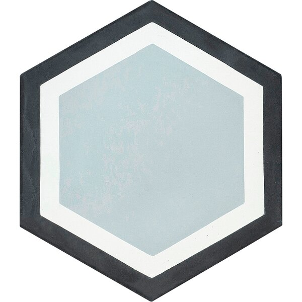 MeaLu Encaustic 8 x 9 Cement Tile in Black/Gray (Set of 4) by Rustico Tile & Stone