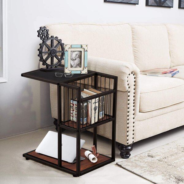 Ferrin Glass Top End Table With Storage By Brayden Studio