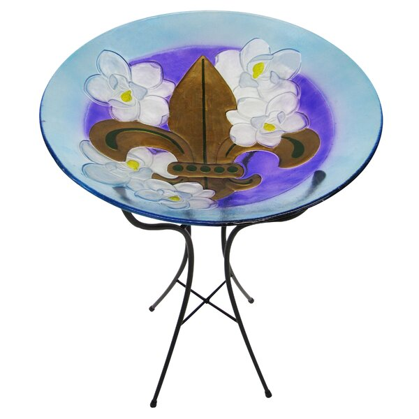 Magnolia and Fleur de Lis Glass Birdbath by Leigh Country