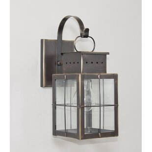 Compare prices Wildes 1-Light Outdoor Wall Lantern By Breakwater Bay