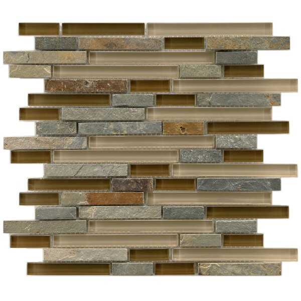 Sierra Random Sized Glass and Stone Mosaic Tile in Brown/Gray by EliteTile