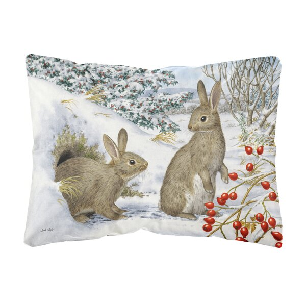 Rushin Winter Rabbits Fabric Indoor/Outdoor Throw Pillow by Winston Porter
