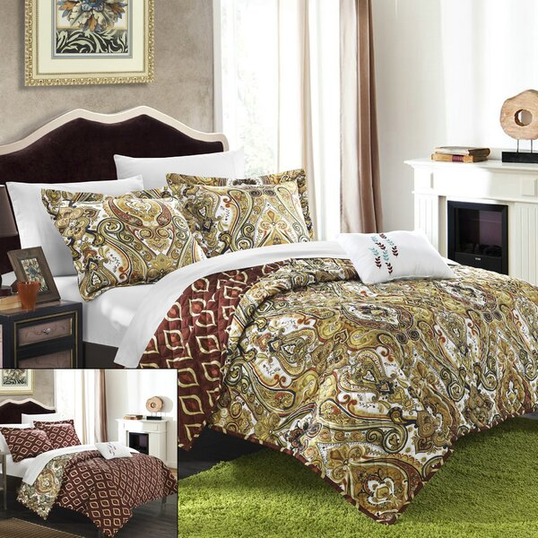 Paisley Global Inspired Vedara 4 Piece Reversible Quilt Set by Chic Home