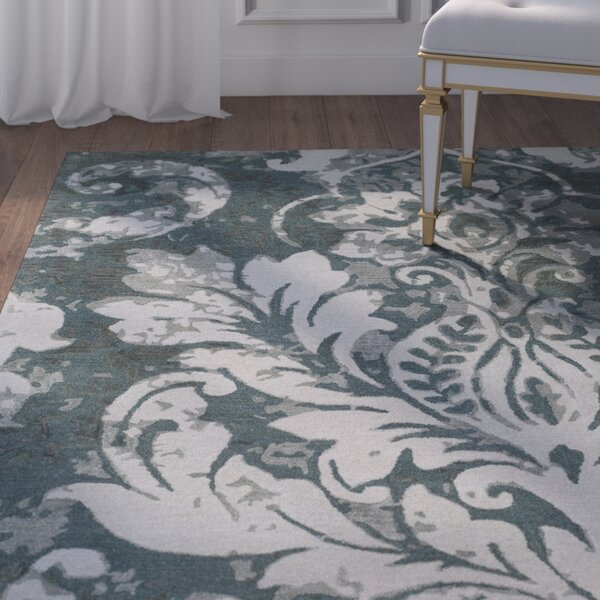 Terry Hand-Tufted Teal/Dark Green Area Rug by House of Hampton