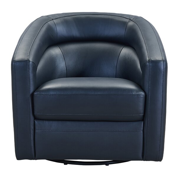 Silloth Contemporary Genuine Leather Swivel Barrel Chair By Orren Ellis