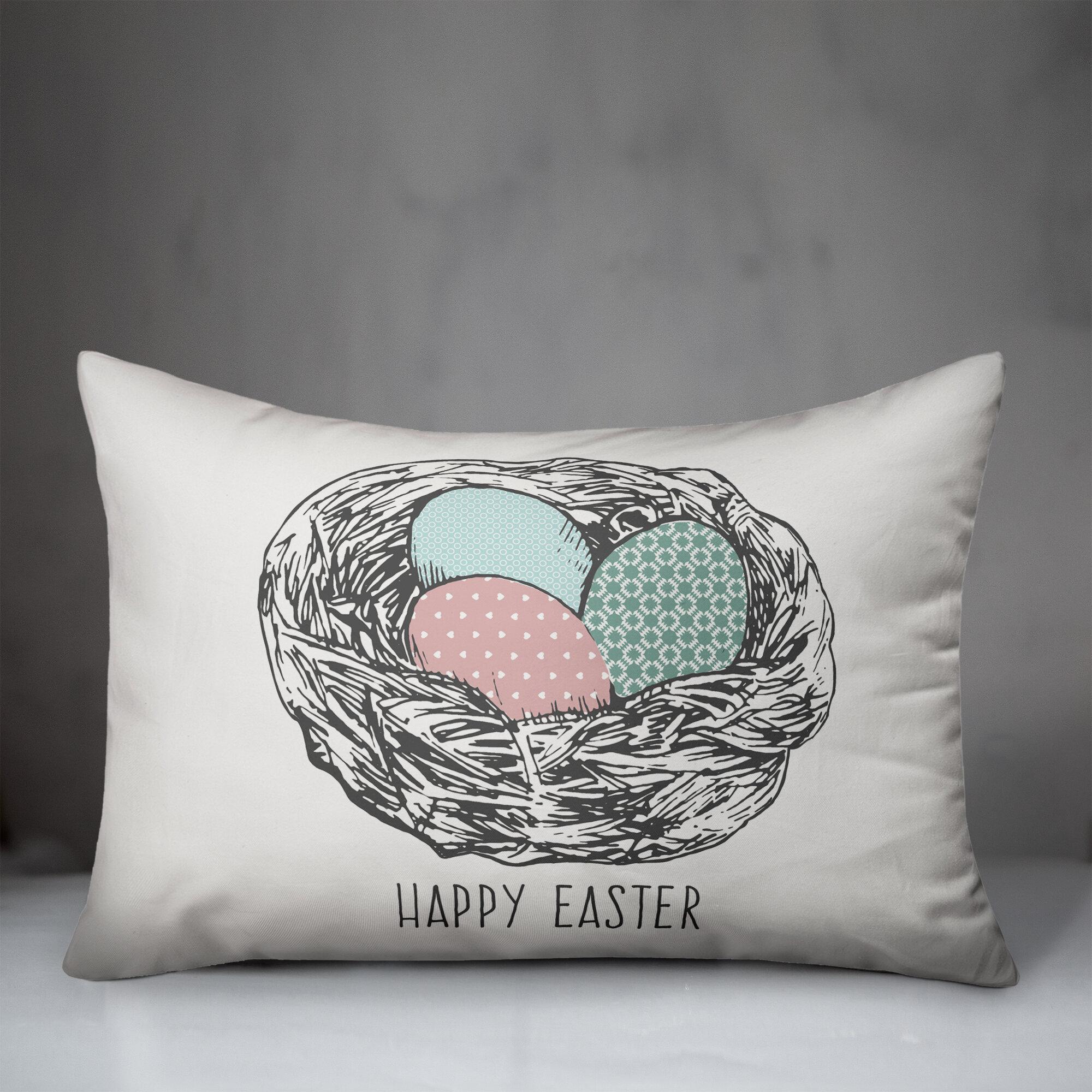 The Holiday Aisle Kerrigan Happy Easter Eggs Lumbar Pillow Wayfair