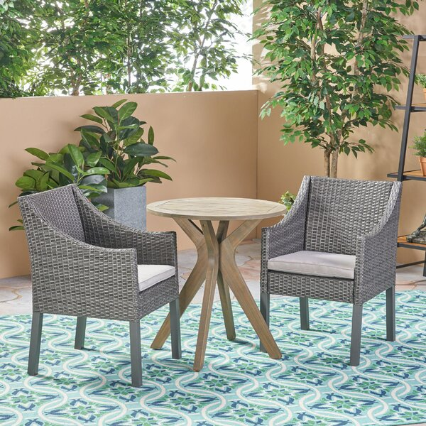 Bolesworth Outdoor 3 Piece Bistro Set with Cushions by Bungalow Rose