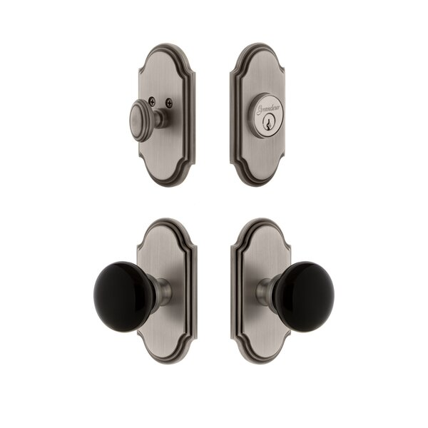 Arc Plate Single Cylinder Knob Combo Pack with Coventry Knob and matching Deadbolt by Grandeur